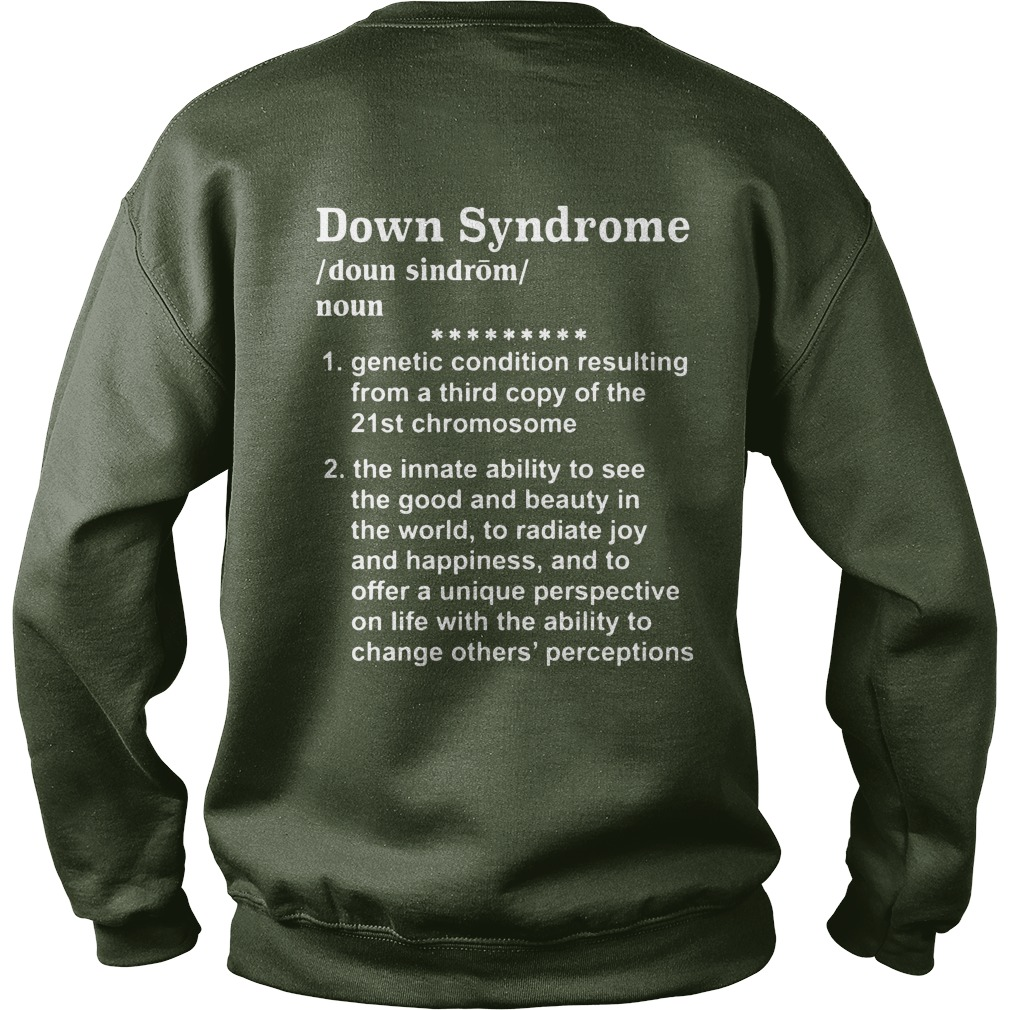 Down syndrome definition shirt, lady tee, guy tee
