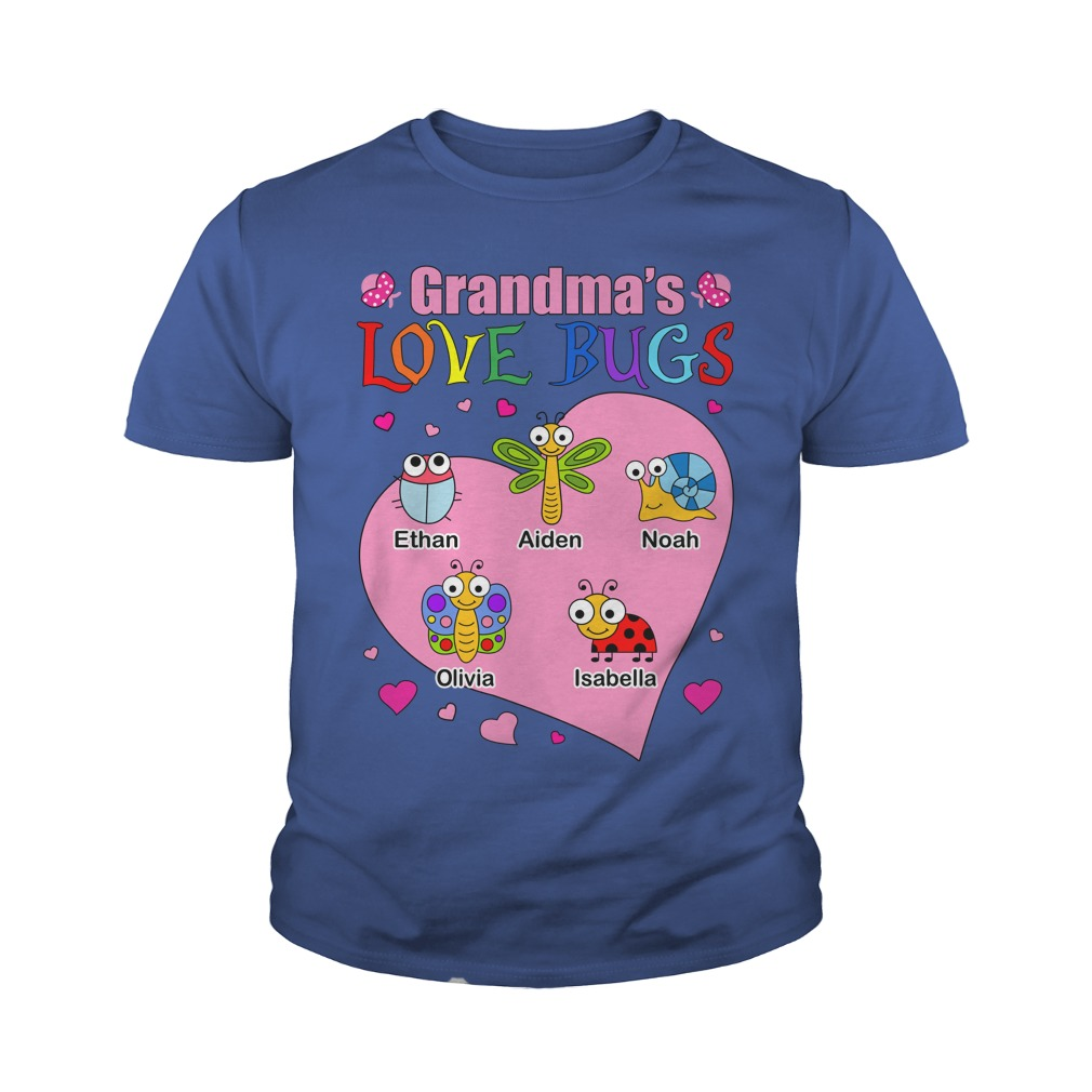 Grandma's love bugs shirt, youth tee, lady tee
