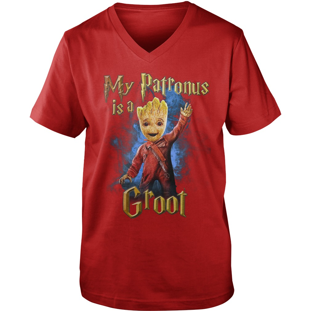 My Patronus is a Groot shirt, guy v-neck, lady tee