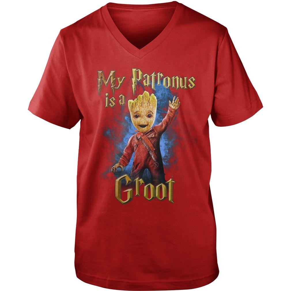 My Patronus is a Groot shirt, guy v-neck, lady tee
