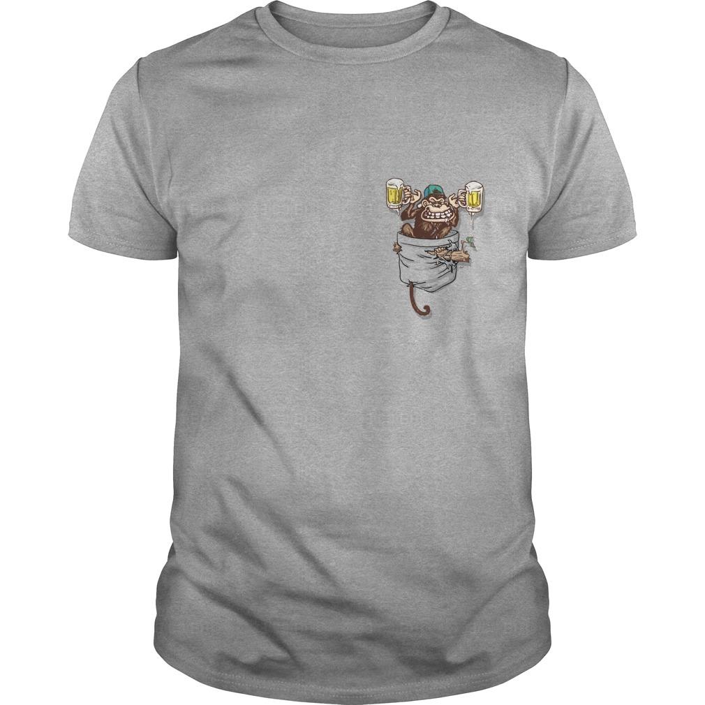 Pocket Beer Monkey Shirt, Guy T-Shirt, Unisex Tank Top