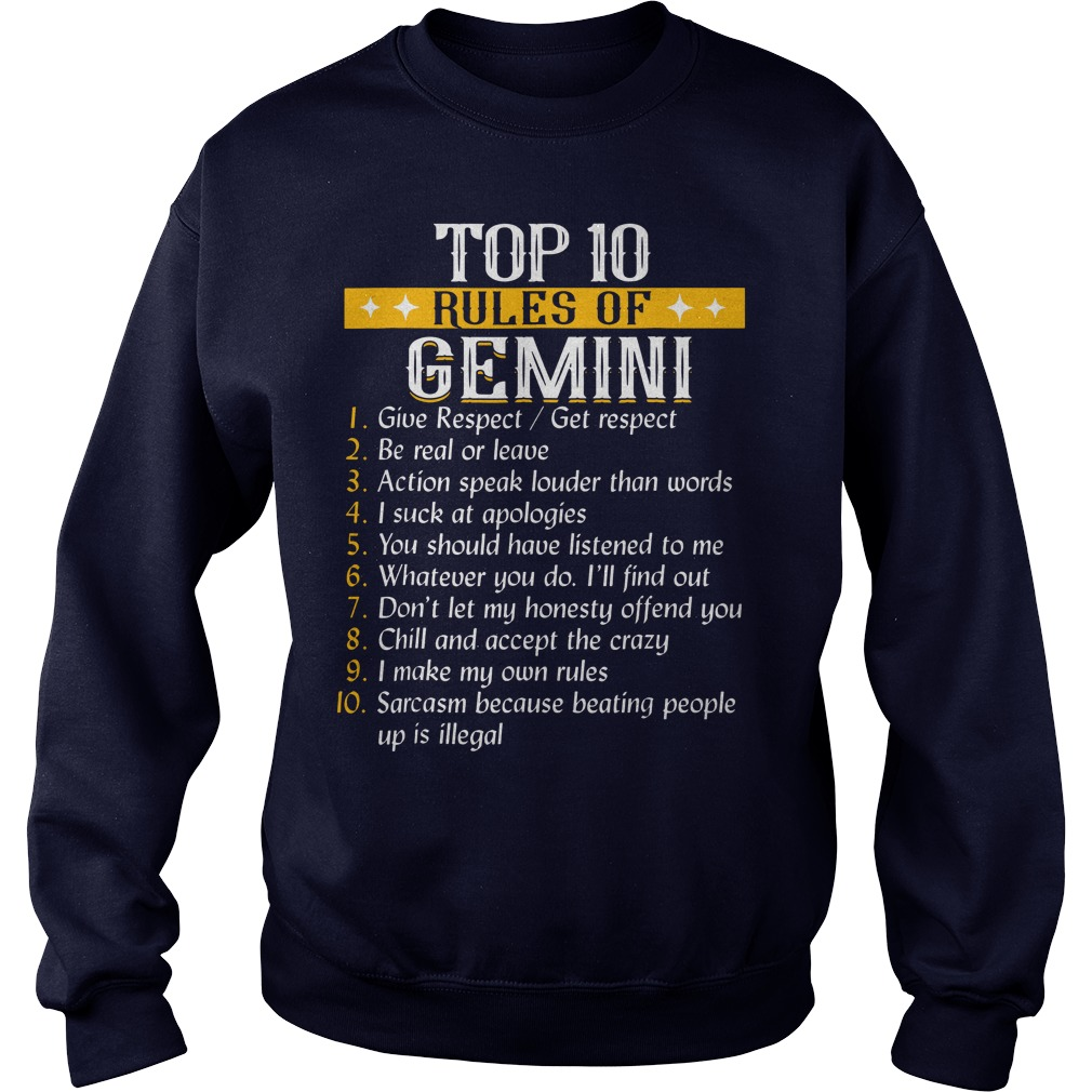 Top 10 rules of Gemini shirt, sweat shirt, hoodie