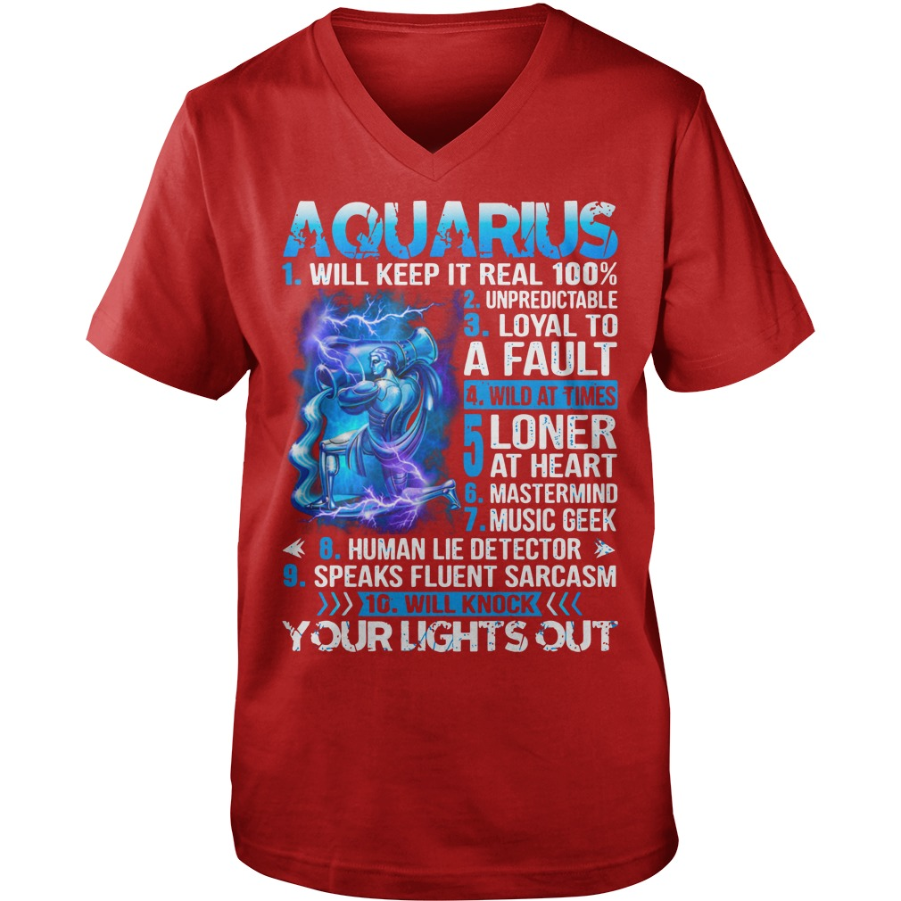 10 things about Aquarius shirt guy v-neck