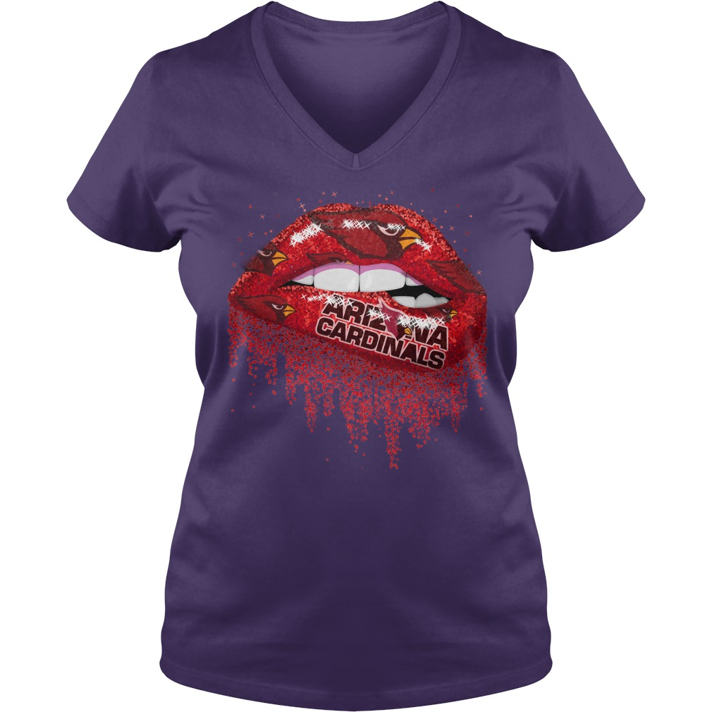 Arizona Cardinals love glitter lips shirt lady v-neck