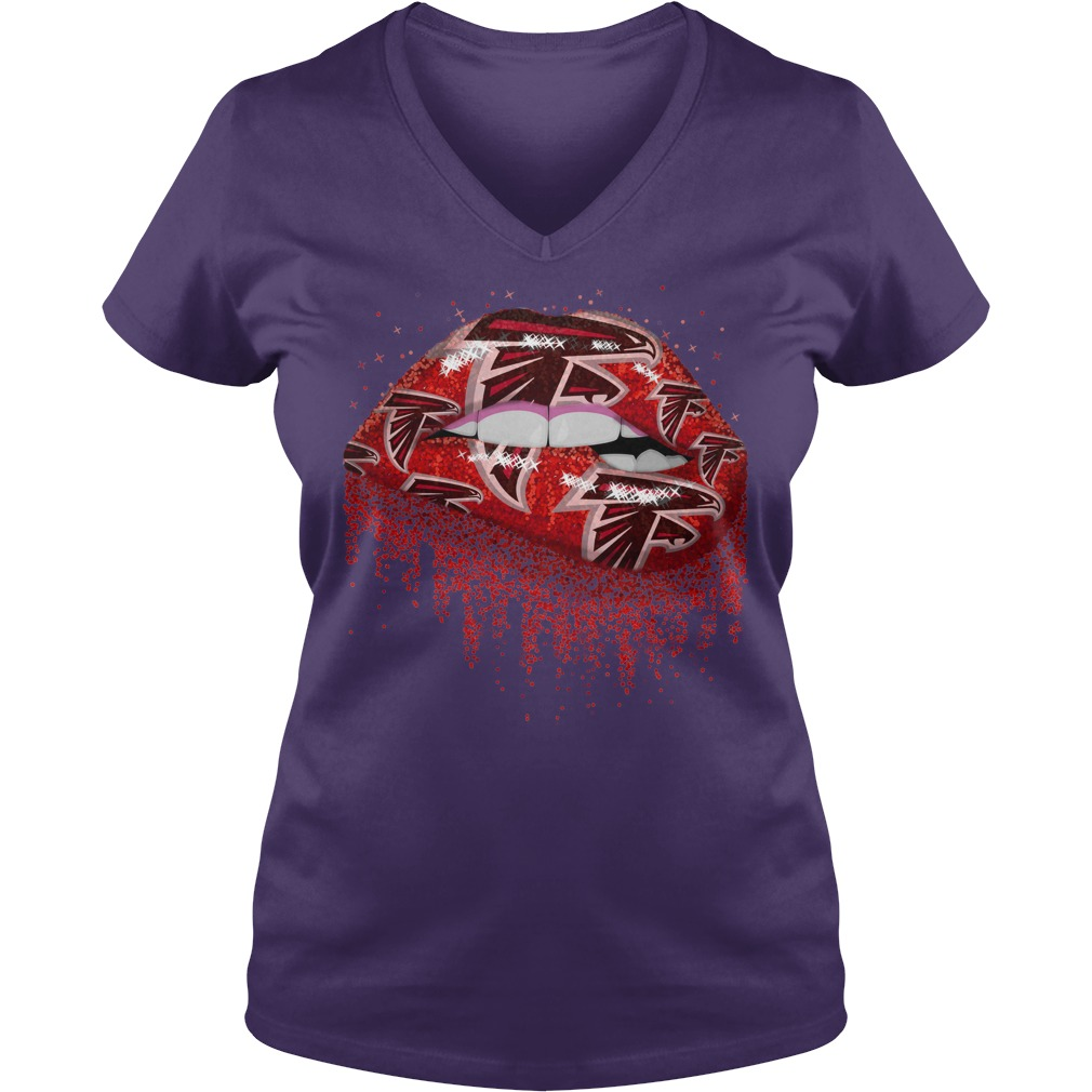 Atlanta Falcons love glitter lips shirt lady v-neck