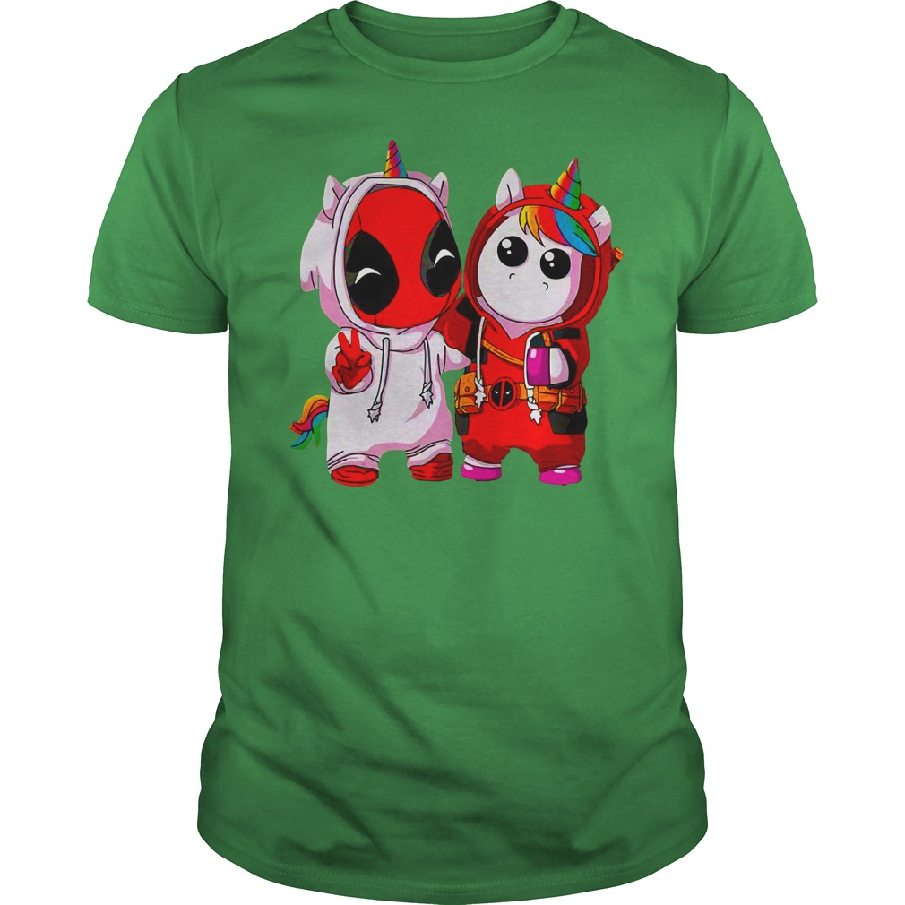 Baby Deadpool and Unicorn shirt guy tee