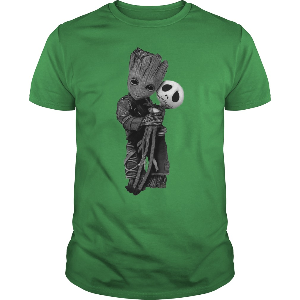 Baby Groot hugs Jack Skellington shirt guy tee