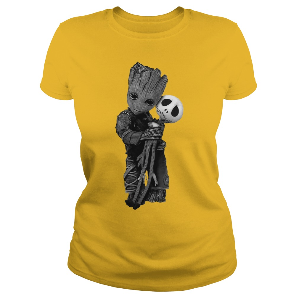 Baby Groot hugs Jack Skellington shirt lady tee