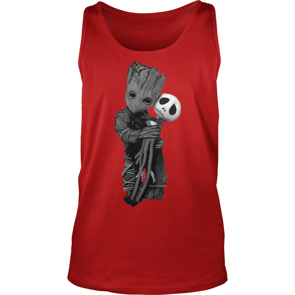 Baby Groot hugs Jack Skellington shirt unisex tank top