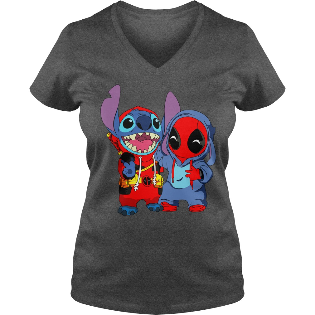Baby deadpool and stitch shirt lady v-neck - Deadpool and Unicorn Funny Stitch shirt
