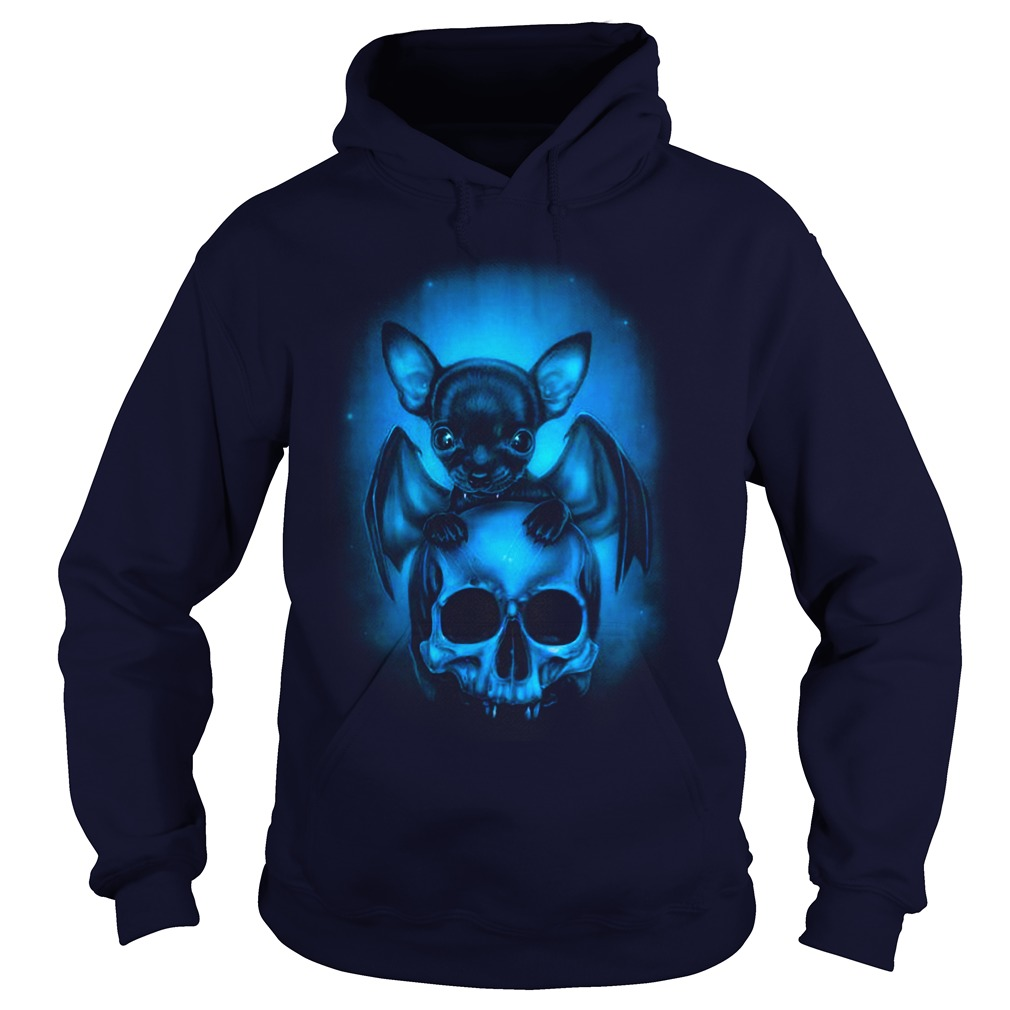 Bat Chihuahua and skull shirt hoodie