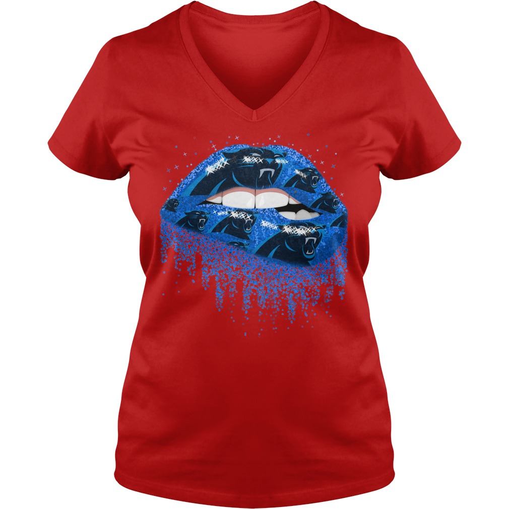 Carolina Panthers love glitter lips shirt lady v-neck