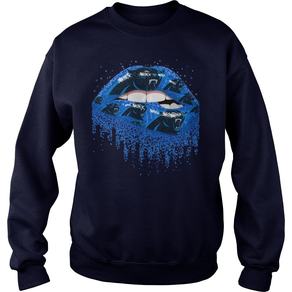 Carolina Panthers love glitter lips shirt sweat shirt