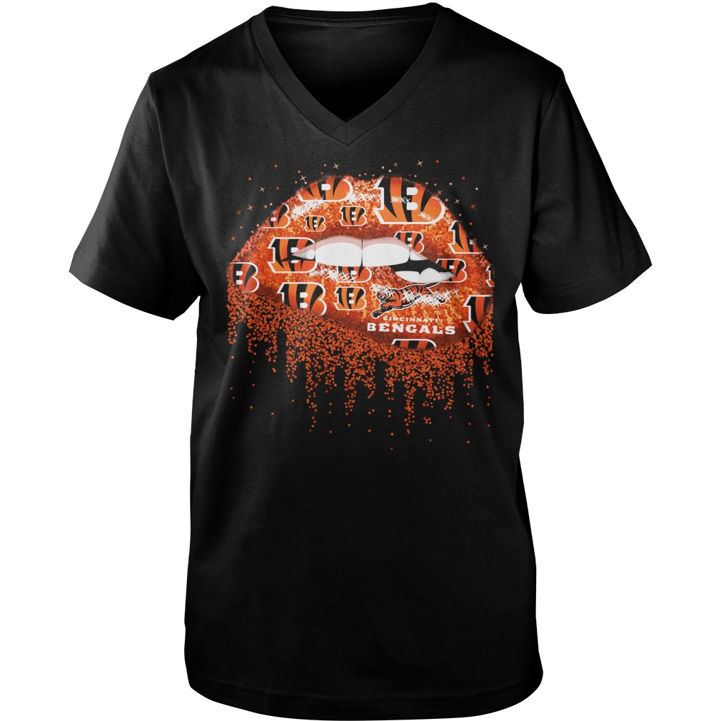 Cincinnati Bengals love glitter lips shirt guy v-neck - Cincinnati Bengals NFL 2018 shirt