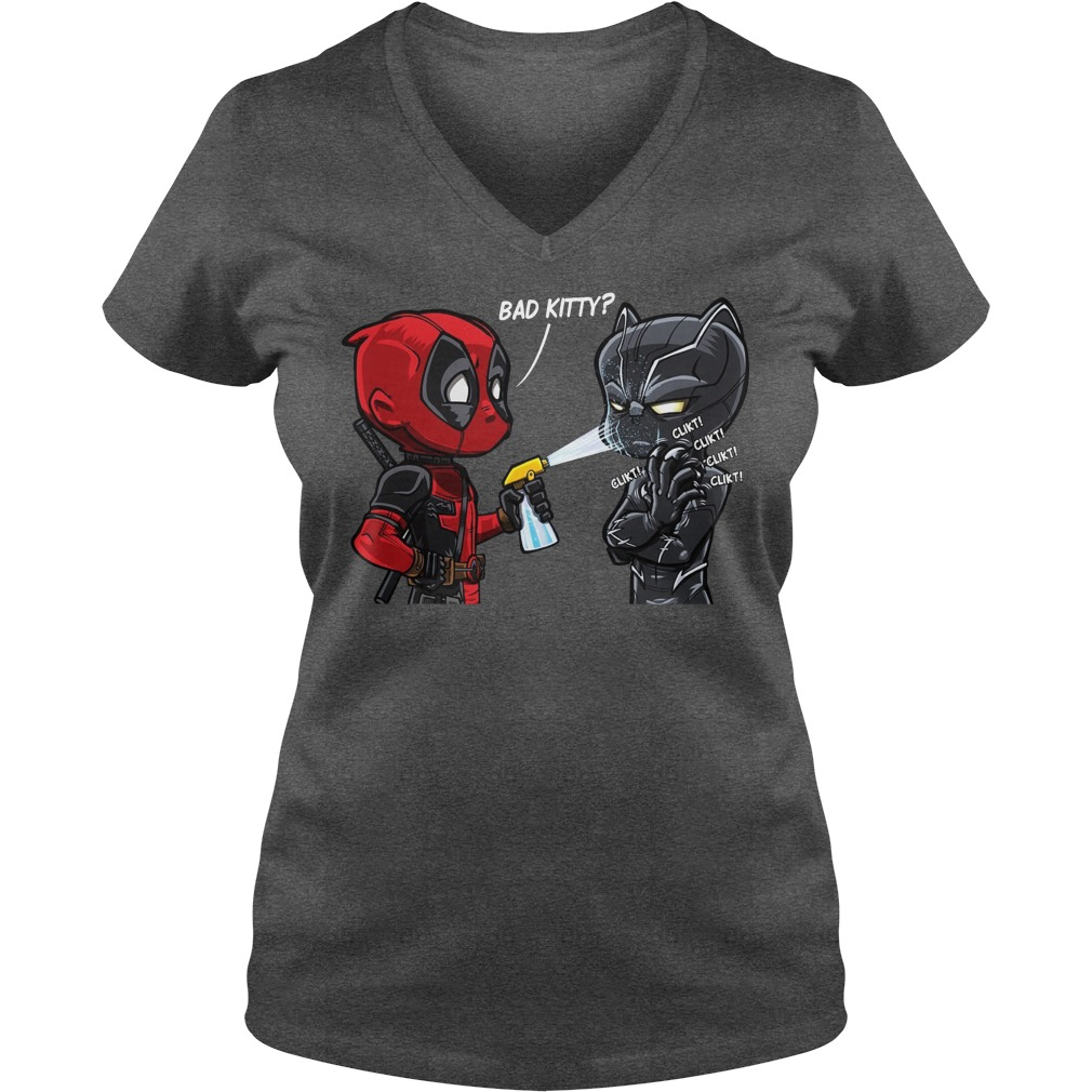 Deadpool and Black Panther bad kitty shirt lady v-neck - Bad kitty Deadpool and Black Panther shirt