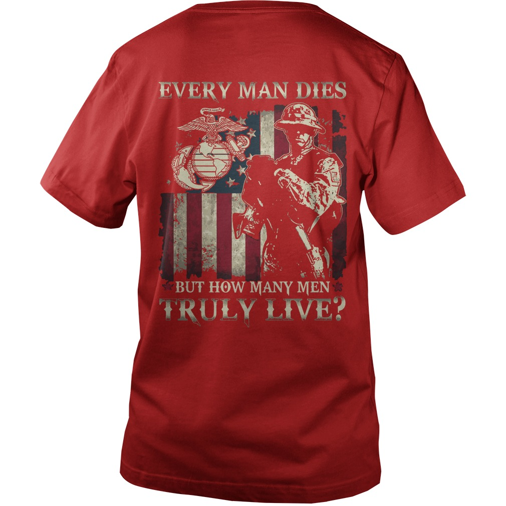 Every man dies but how many men truly live shirt guy v-neck