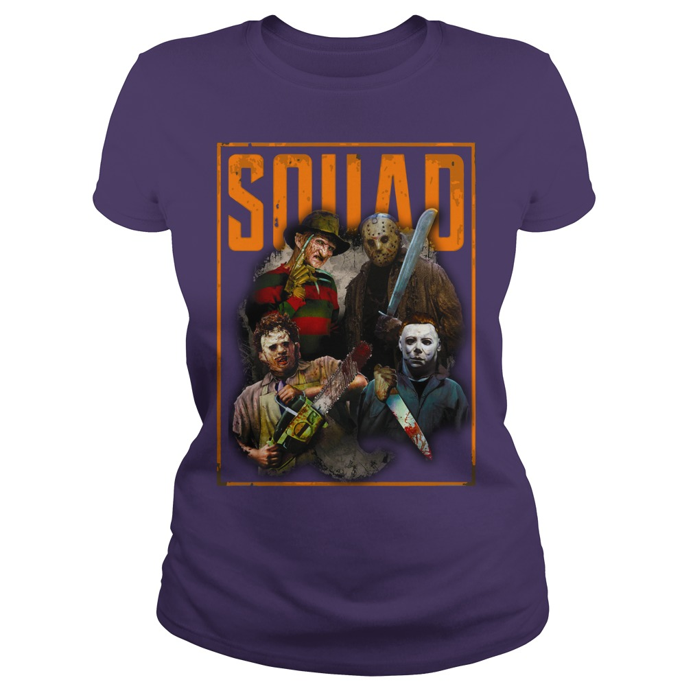 Freddy Jason Michael Myers and Leatherface Squad shirt lady tee
