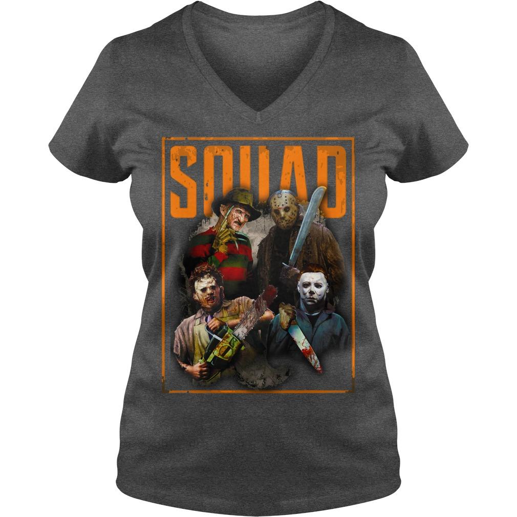 Freddy Jason Michael Myers and Leatherface Squad shirt lady v-neck