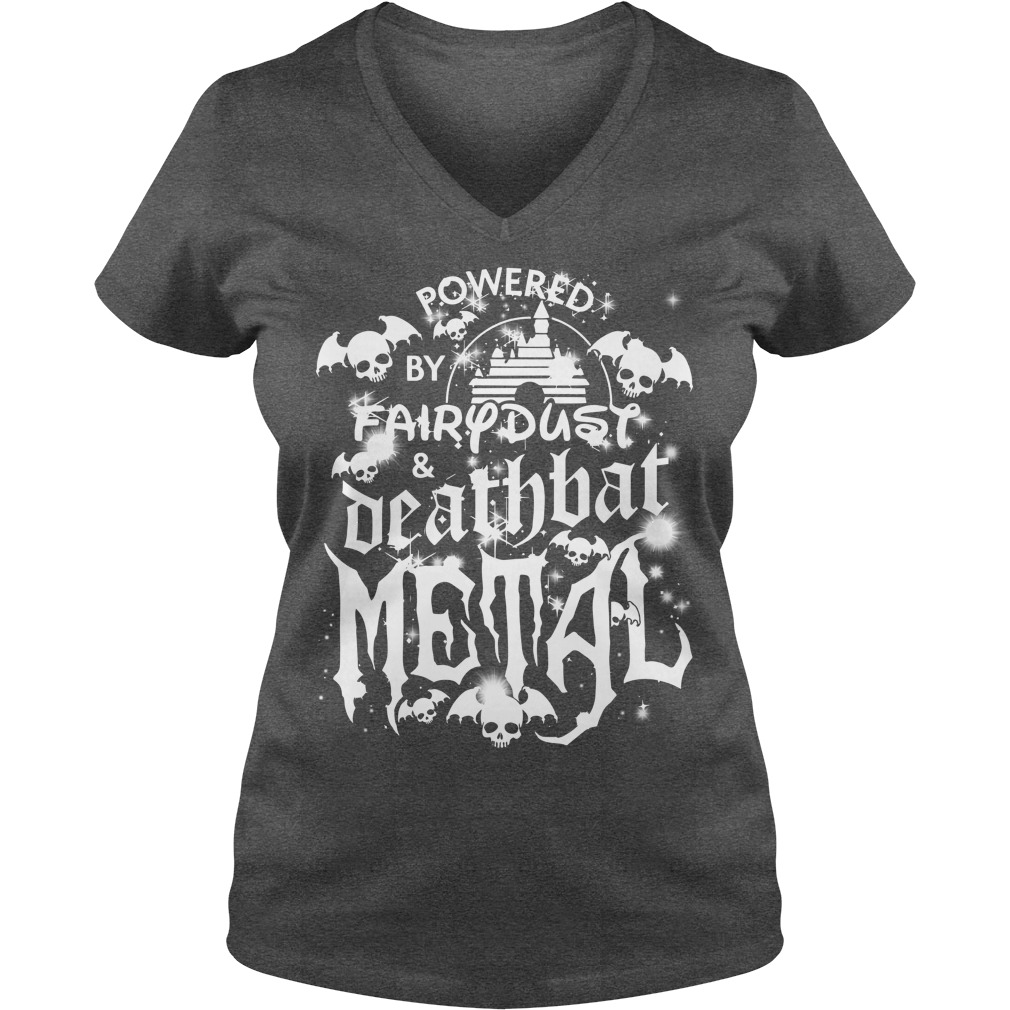 Halloween Disney Powered by fairy dust and death bat metal shirt lady v-neck