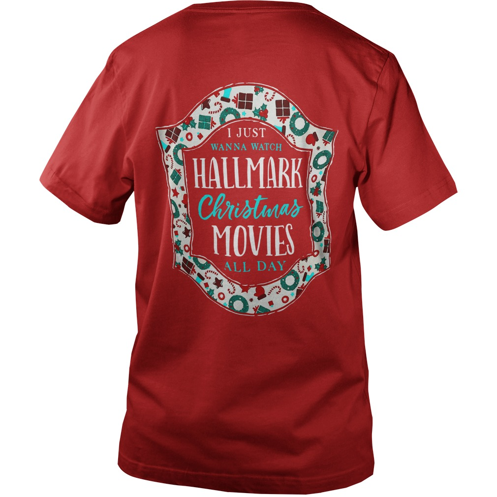 I just want to watch Hallmark Christmas movies all day shirt guy v-neck