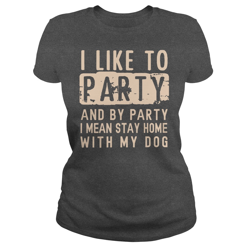 I like to party and by party I mean stay home with my dog shirt lady tee