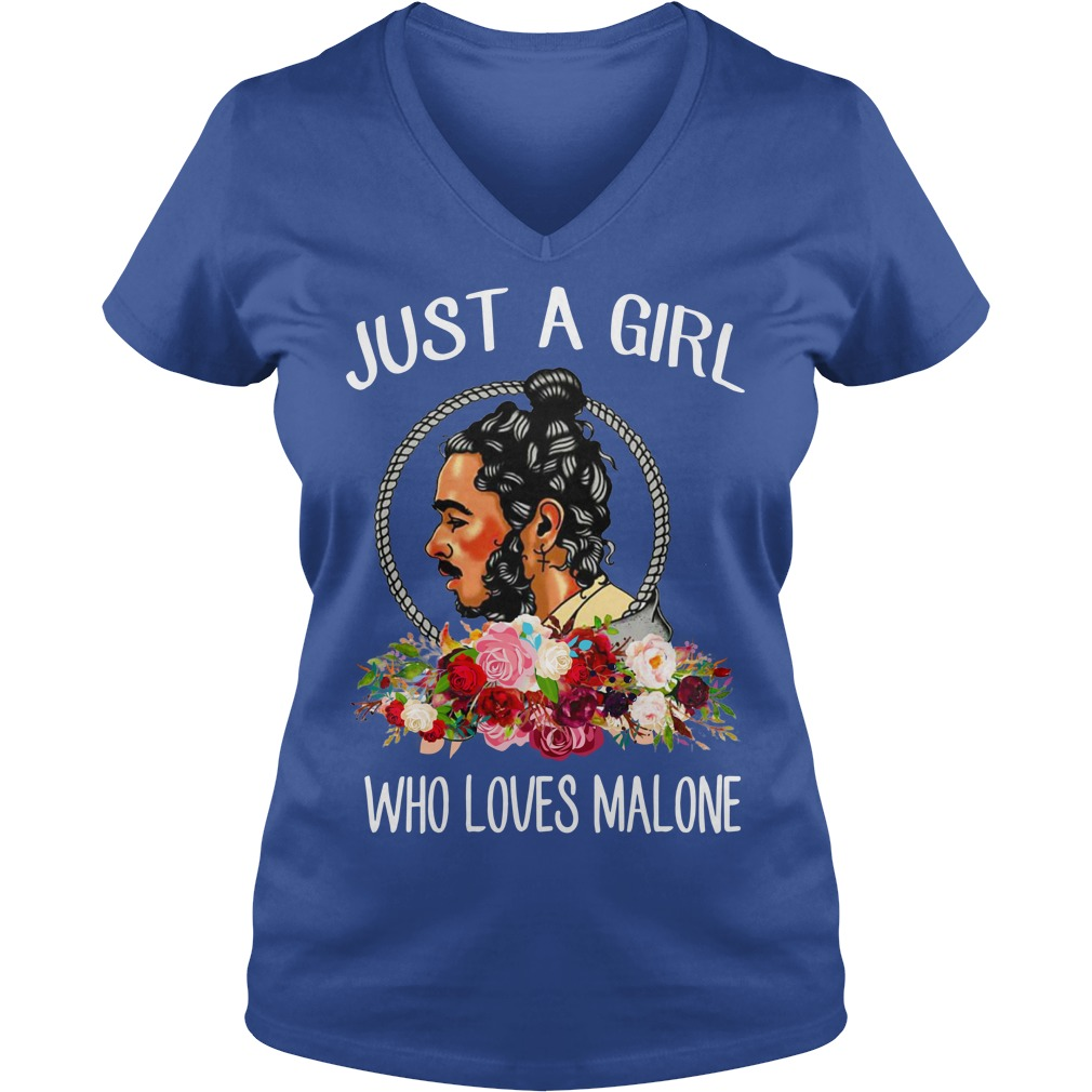 Just a girl who loves Malone shirt lady v-neck