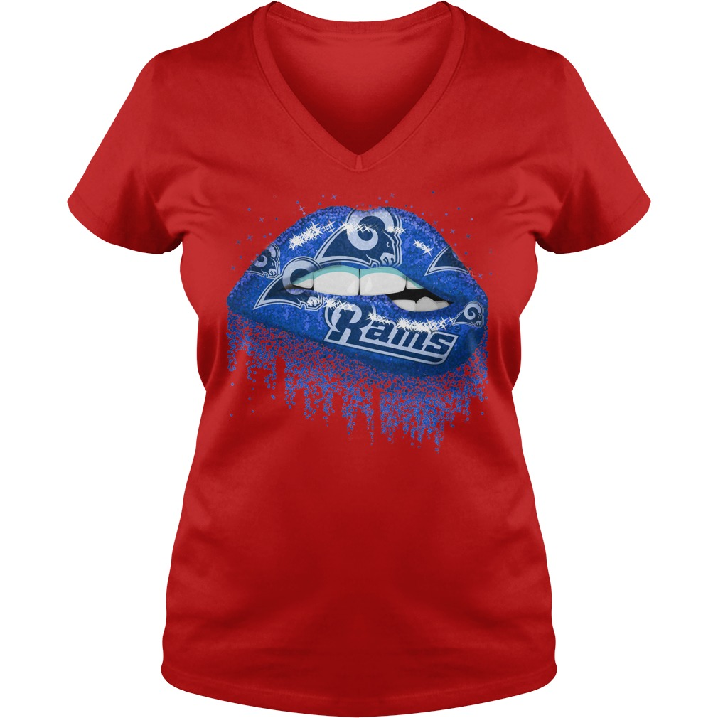 Los Angeles Rams love glitter lips shirt lady v-neck
