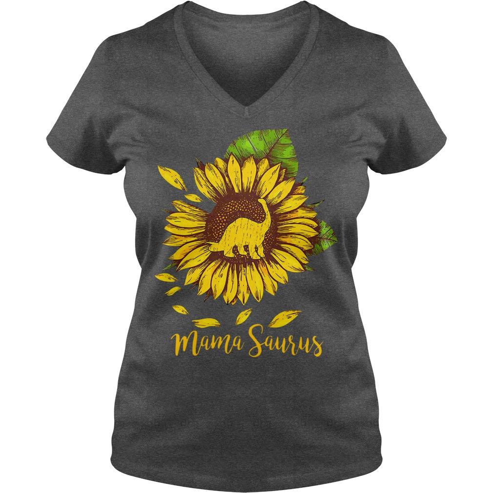 Mama saurus sunflower shirt lady v-neck