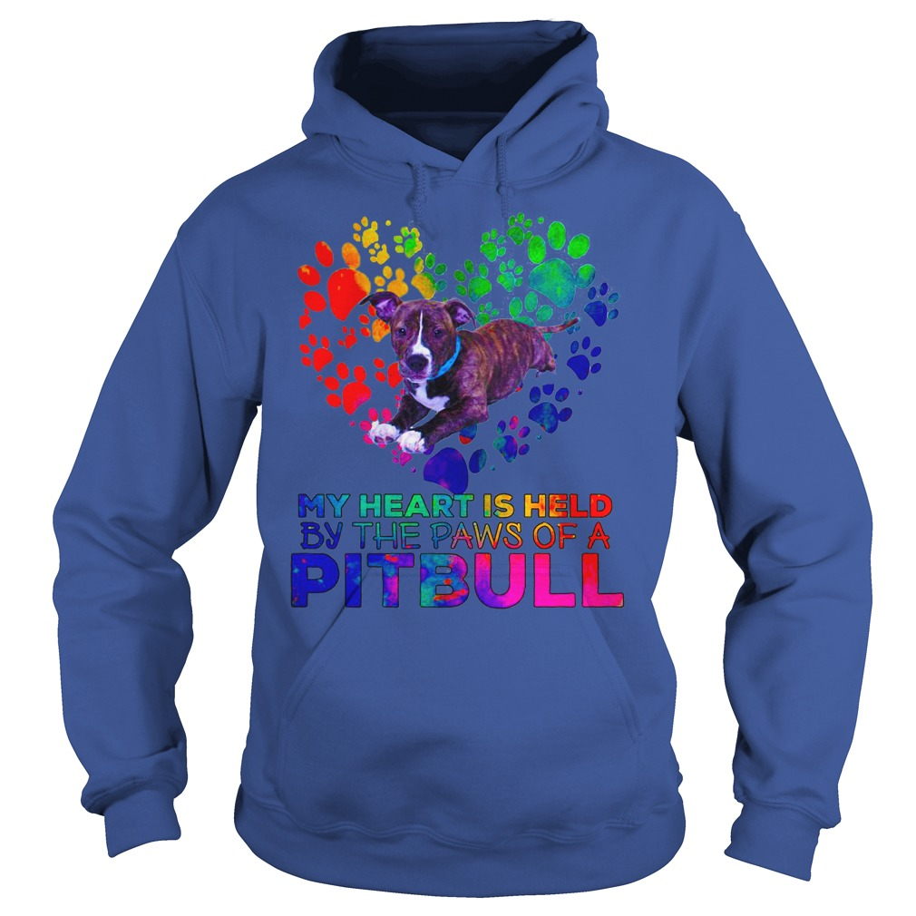 My heart is held by the paws of a Pitbull shirt hoodie