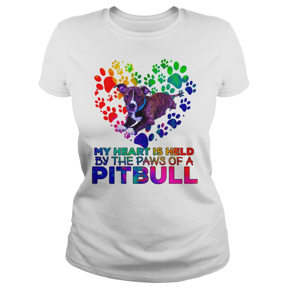 58c558d1 My heart is held by the paws of a Pitbull shirt, lady tee, hoodie ...