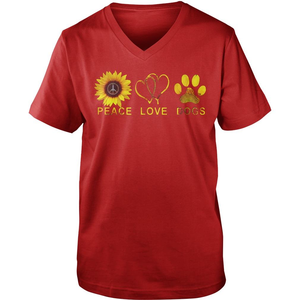 Peace love dogs sunflower shirt guy v-neck