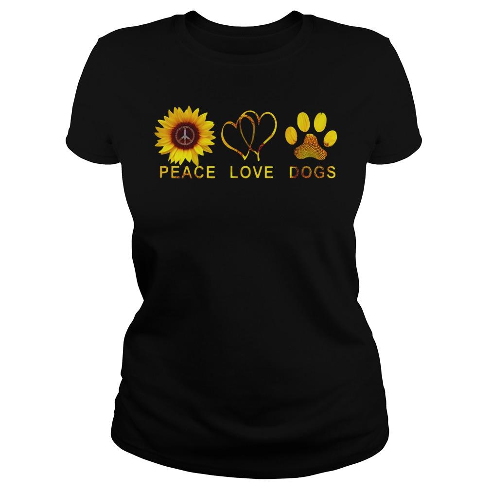 Peace love dogs shirt, peace love dogs sunflower shirt lady tee
