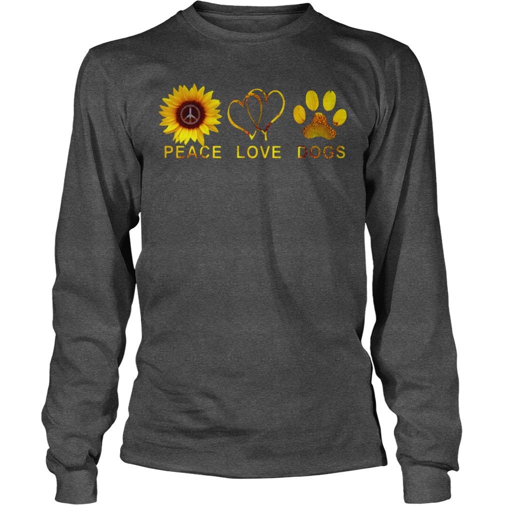 Peace love dogs sunflower shirt unisex longsleeve tee, peace love dogs shirt