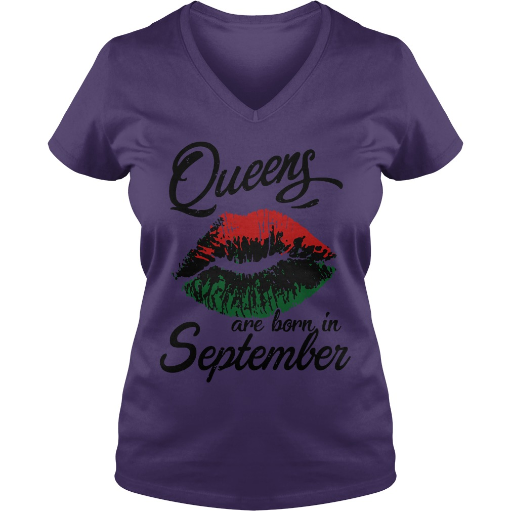 Queens are born in september lips shirt lady v-neck