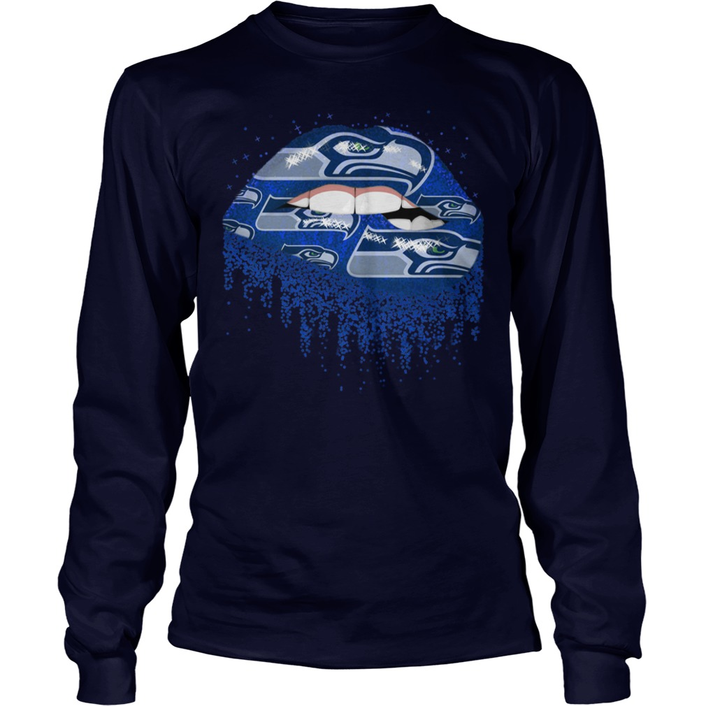 Seattle Seahawks love glitter lips shirt unisex longsleeve tee