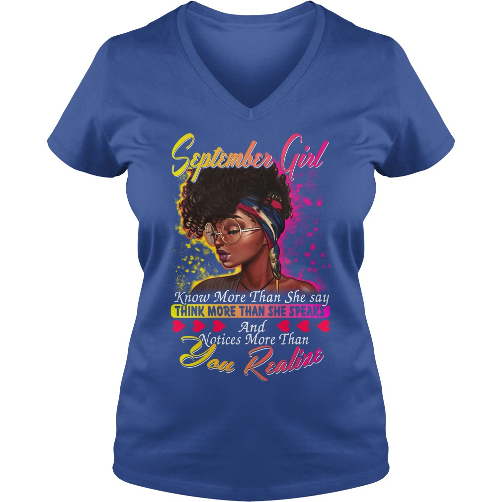 September girl know more than she say thinking more than she speaks shirt lady v-neck - September girl know more than she say shirt