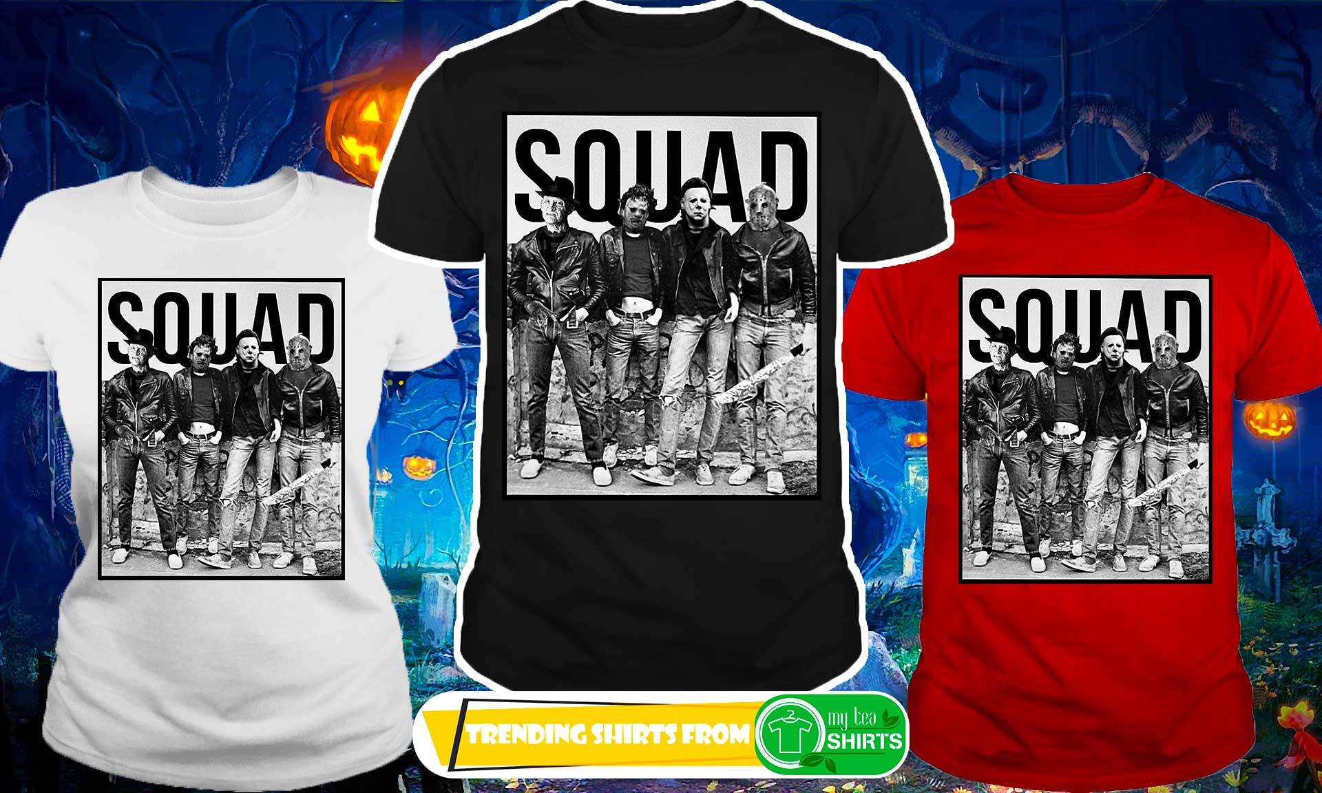 the nightmare ends on halloween squad shirt, guy v-neck, guy tee
