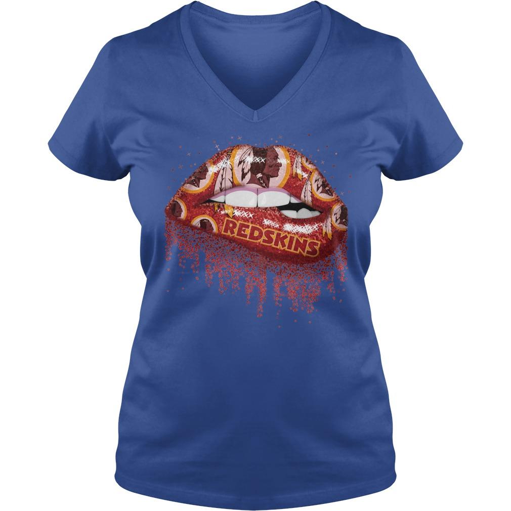 Washington Redskins love glitter lips shirt lady v-neck