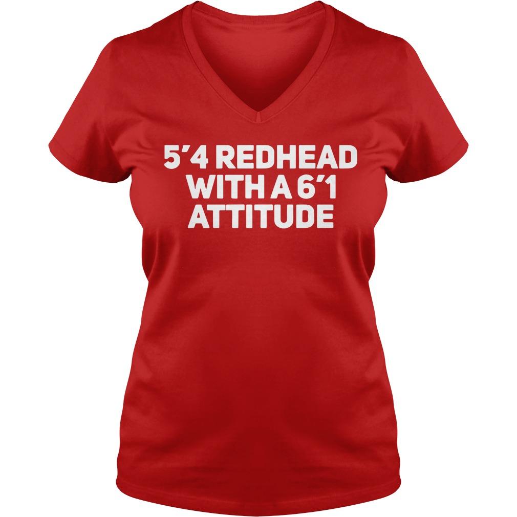 5'4 redhead with a 6'1 attitude shirt lady v-neck