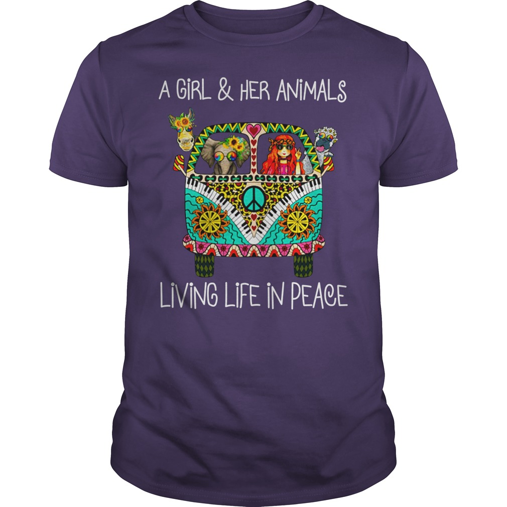 A girl and her animals living life in peace shirt guy tee