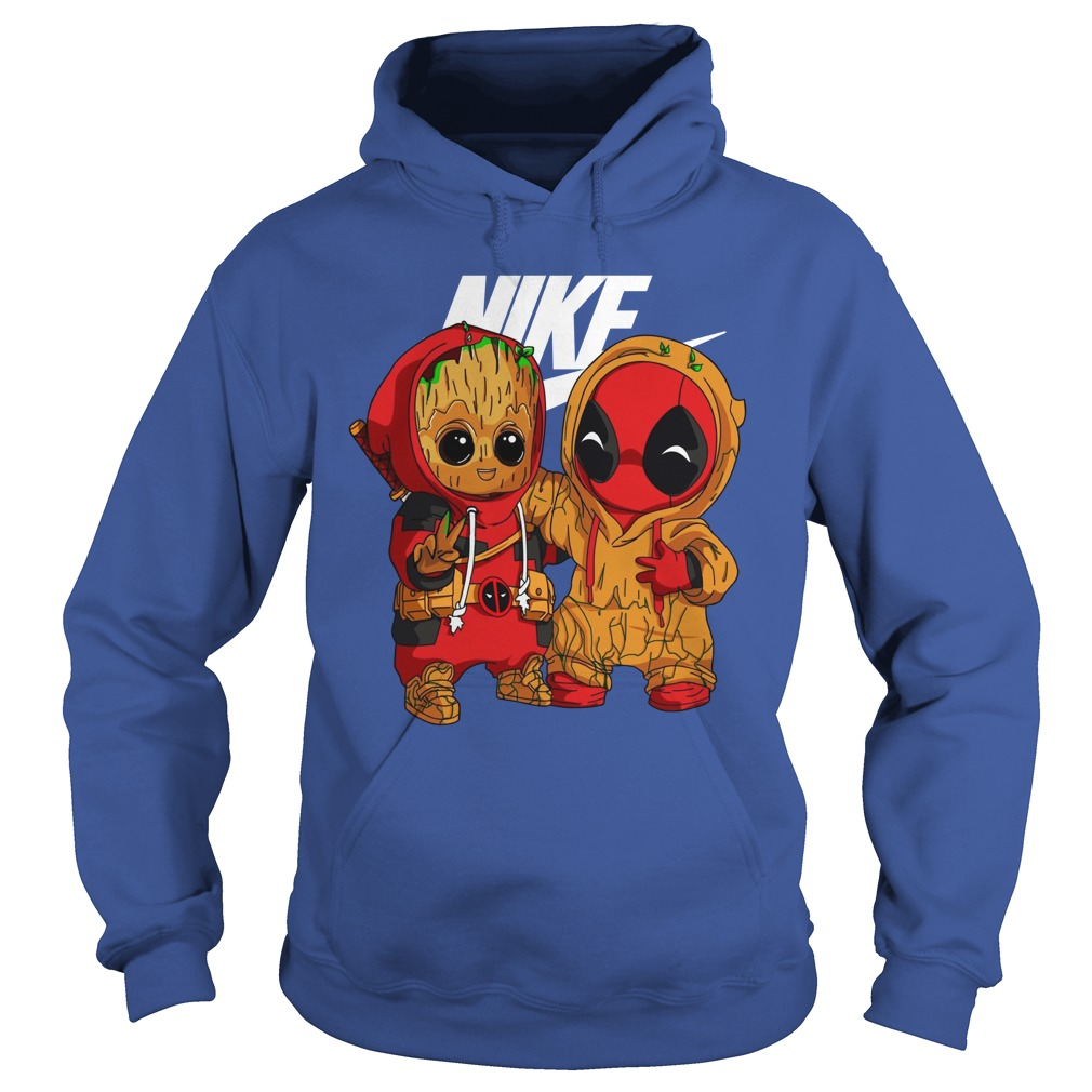 Baby Groot And Baby Deadpool Nike shirt hoodie