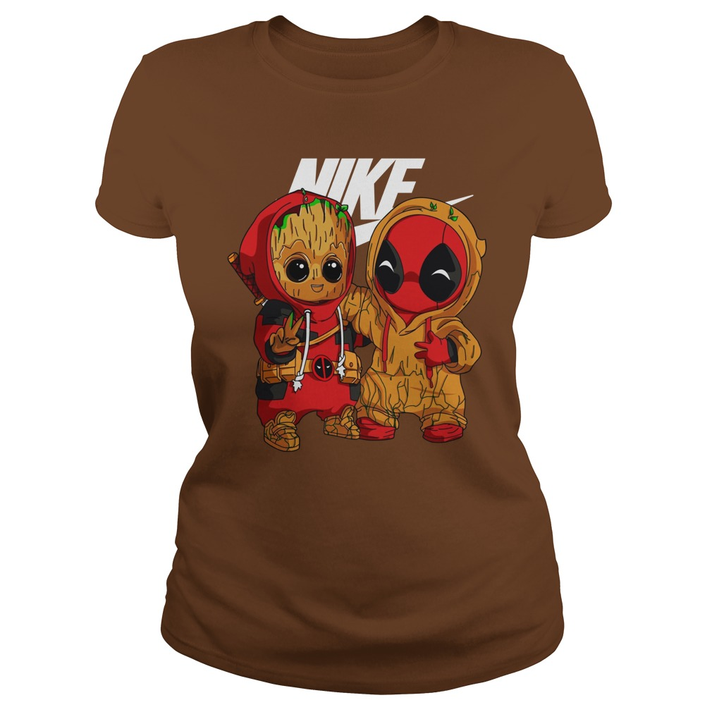 Baby Groot And Baby Deadpool Nike shirt lady tee