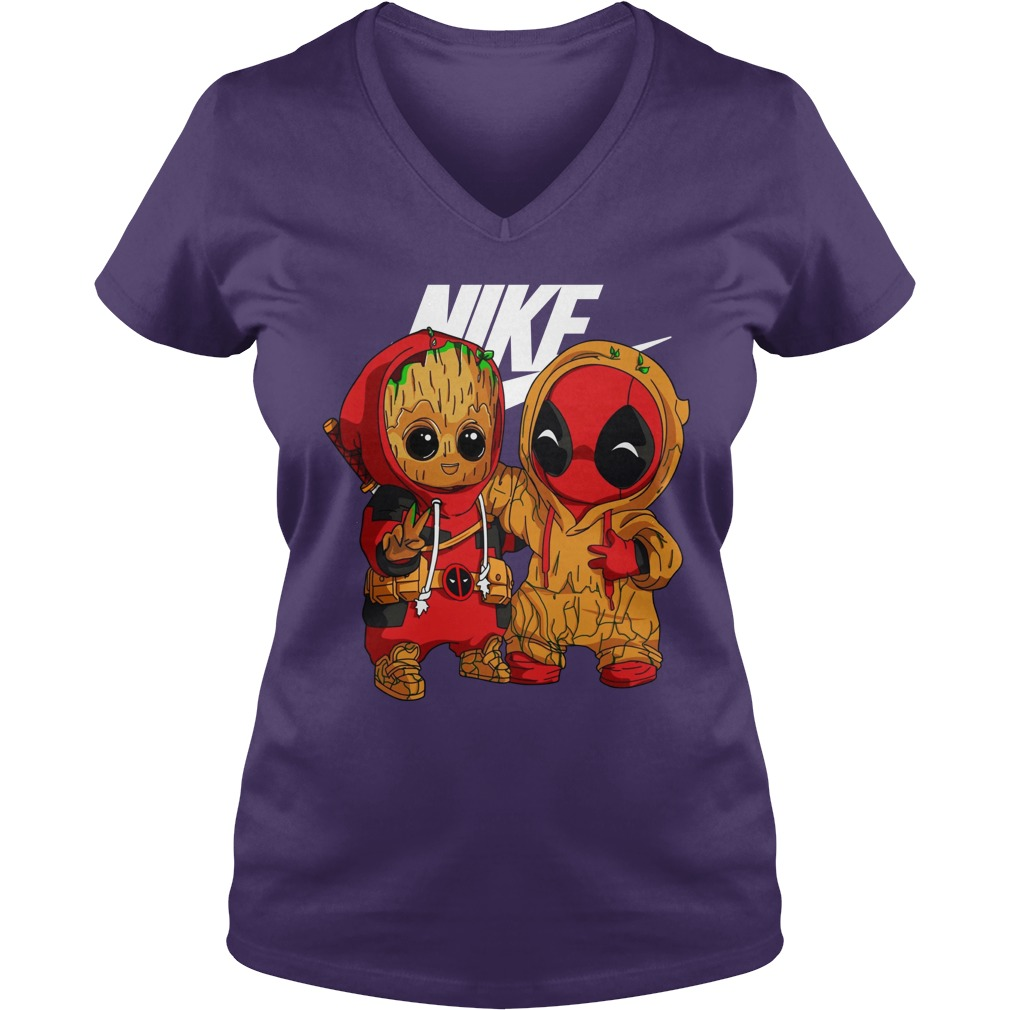 Baby Groot And Baby Deadpool Nike shirt lady v-neck