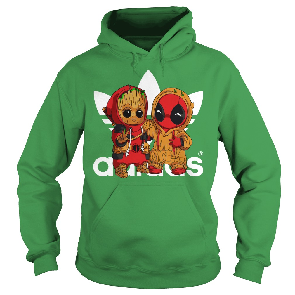 Baby Groot and Baby Deadpool Adidas shirt hoodie