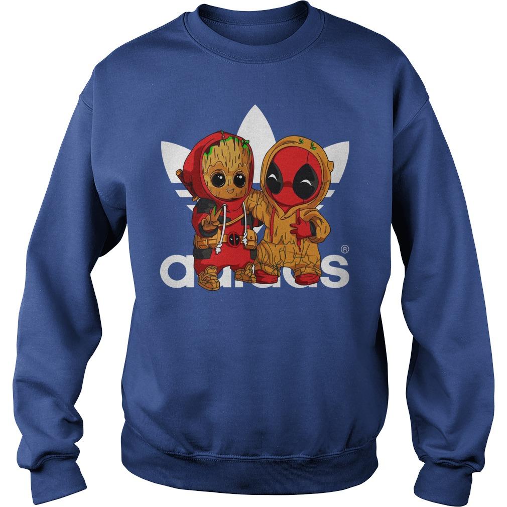 Baby Groot and Baby Deadpool Adidas shirt sweat shirt