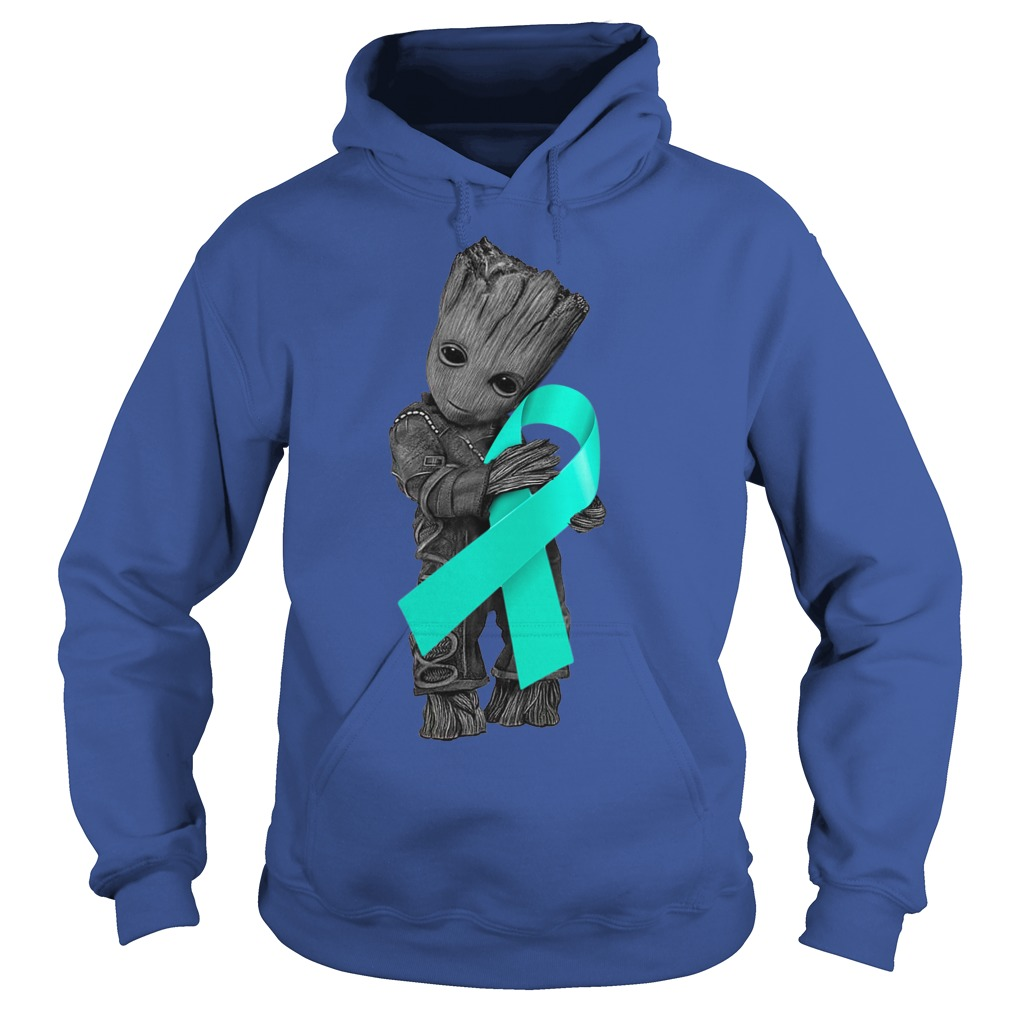 Baby Groot hugging Ovarian Cancer Ribbon shirt hoodie