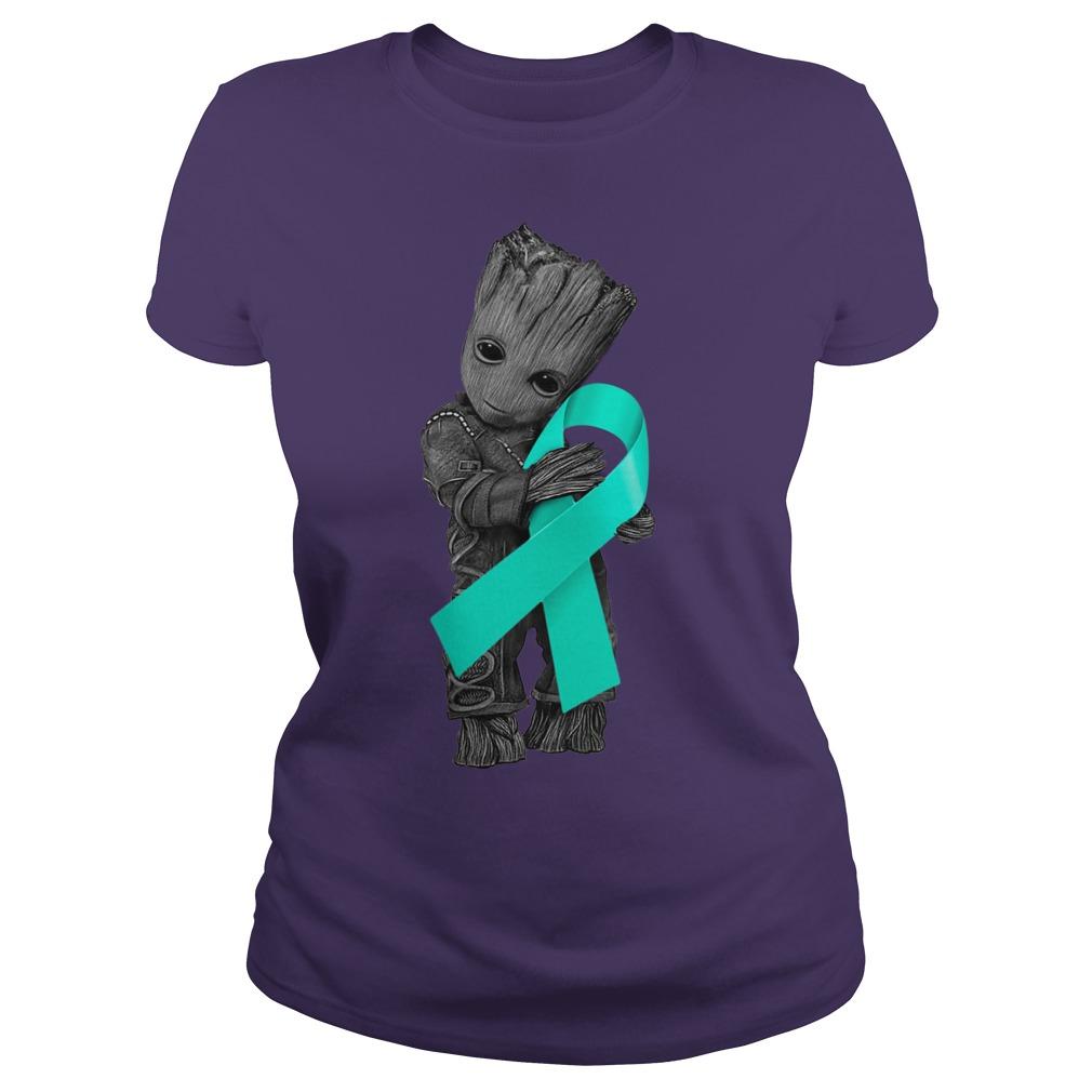 Baby Groot hugging Ovarian Cancer Ribbon shirt lady tee