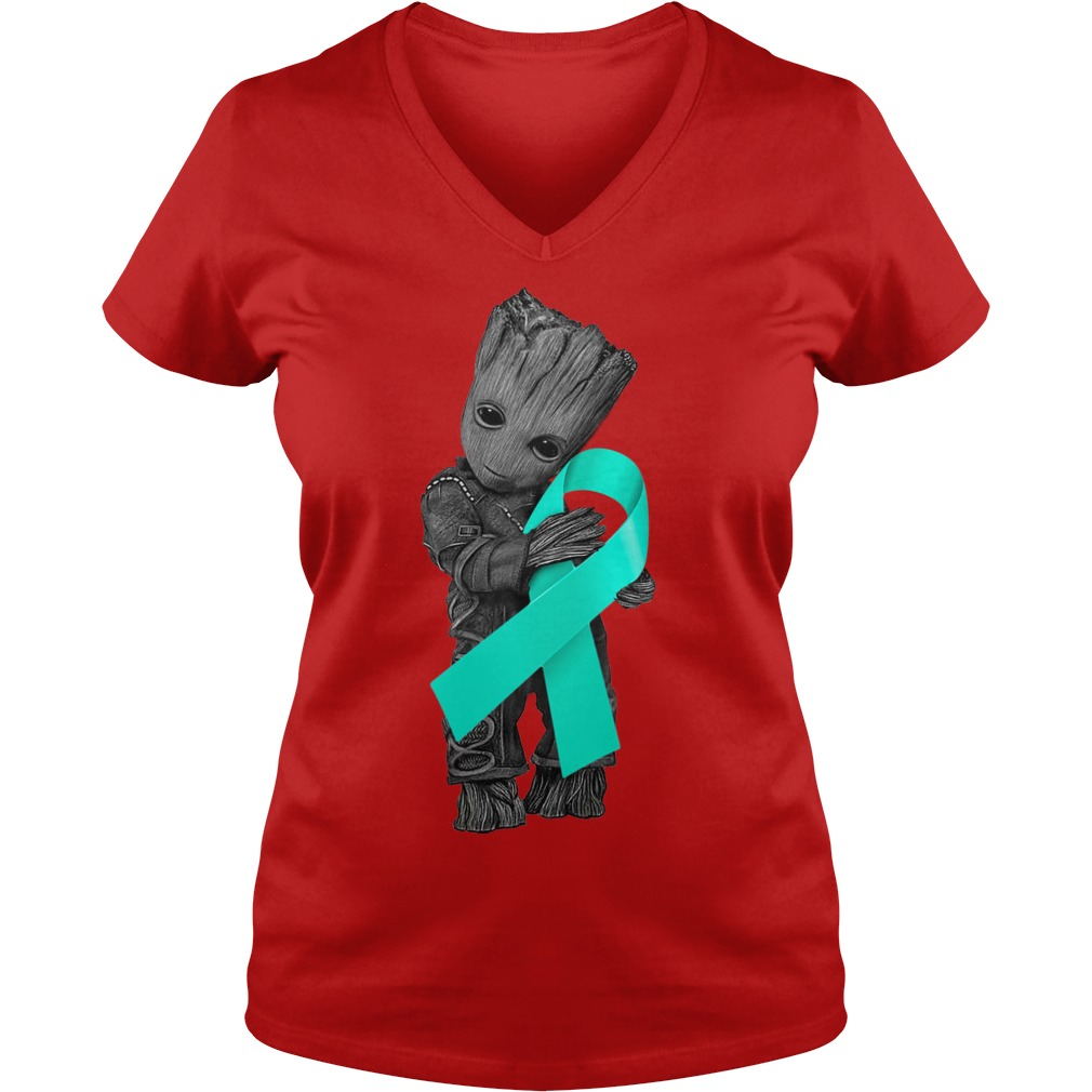 Baby Groot hugging Ovarian Cancer Ribbon shirt lady v-neck