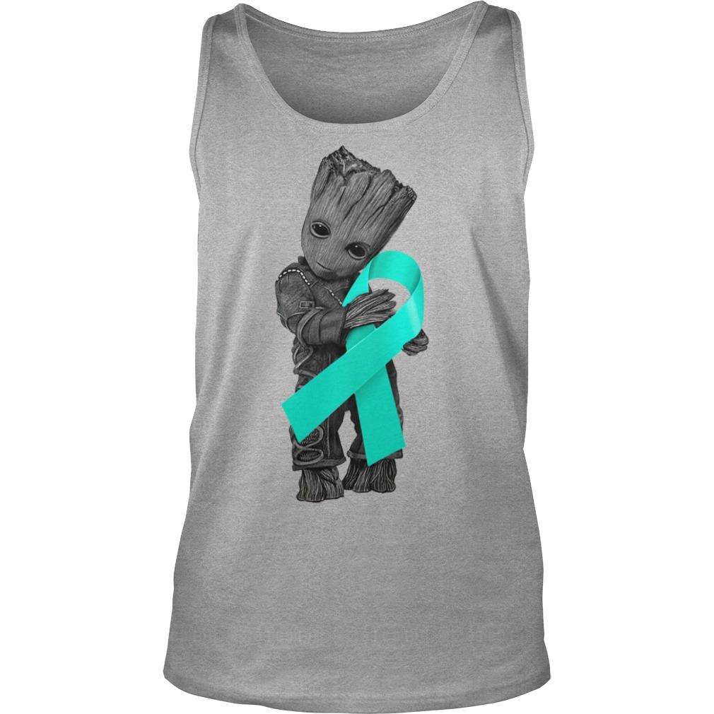 Baby Groot hugging Ovarian Cancer Ribbon shirt unisex tank top