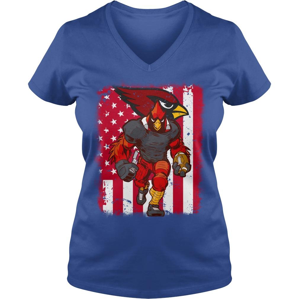 Big Red Arizona Cardinals mascot american flag shirt lady v-neck